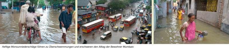 Mumbai | Heftige Monsunniederschläge führen zu Überschwemmungen und erschweren den Alltag der Bewohner Mumbais | Asien - Klima und Monsun | Karte 100/1