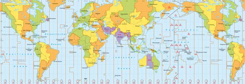 Erde | Zeitzonen | Erde - Globale Kommunikation | Karte 188/2