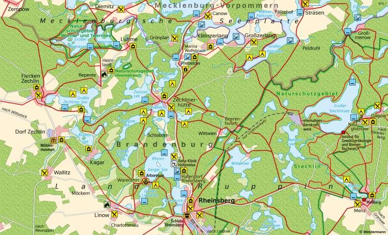 RheinsbergerSeenlandschaft   Tourismus   Brandenburg und Berlin - Tourismus   Karte 25/2