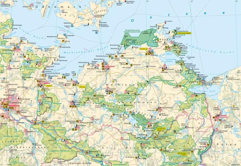 Mecklenburg-Vorpommern | Tourismus | Mecklenburg-Vorpommern - Eine Karte lesen und auswerten | Karte 8/1