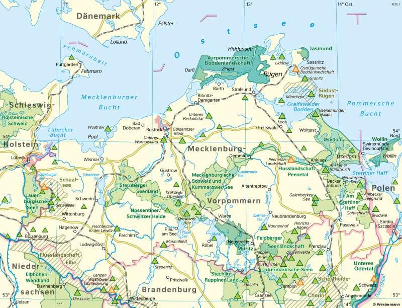 Mecklenburg-Vorpommern | Naturschutz | Mecklenburg-Vorpommern - Naturschutz und Umwelt | Karte 22/1