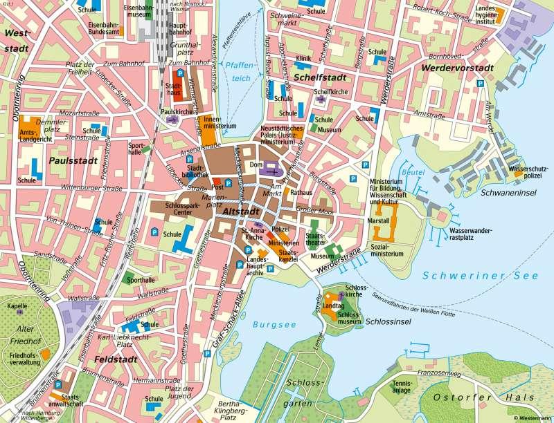 Diercke Weltatlas Kartenansicht Landeshauptstadt Schwerin