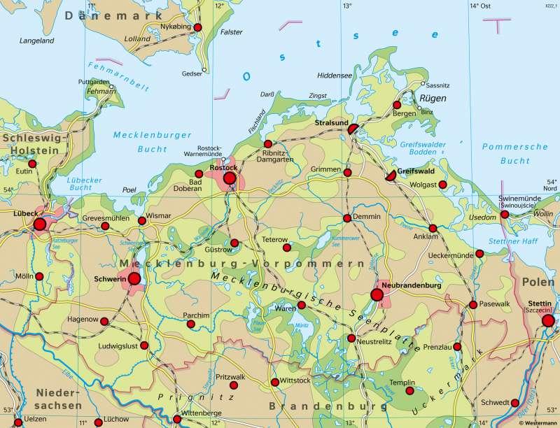 Mecklenburg-Vorpommern | Raumordnung | Mecklenburg-Vorpommern - Wirtschaft und Verkehr | Karte 18/2