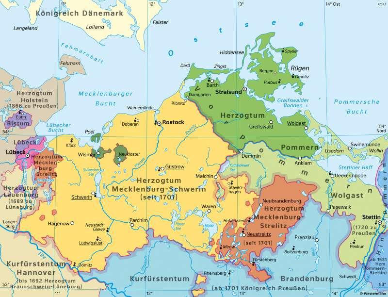 Mecklenburg und Vorpommern | Geschichte in der Neuzeit | Mecklenburg-Vorpommern - Geschichte | Karte 27/4