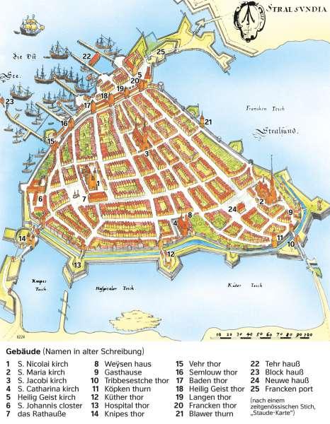Stralsund | Die Hansestadt im 17.Jahrhundert | Mecklenburg-Vorpommern - Geschichte | Karte 26/2