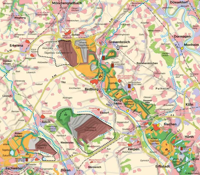 Rheinisches Braunkohlenrevier | Flächennutzung 2018 | Rheinisches Braunkohlenrevier - Landschaftswandel durch Bergbau | Karte 25/2
