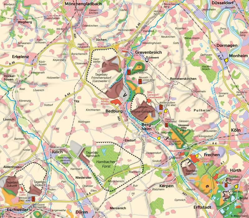 Rheinisches Braunkohlenrevier - | Flächennutzung um1980 | Rheinisches Braunkohlenrevier - Landschaftswandel durch Bergbau | Karte 24/1