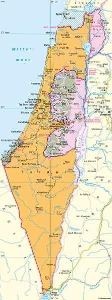 Israel/Palästina | Siedlungsgebiete | Westasien und Israel - Siedlung | Karte 117/2