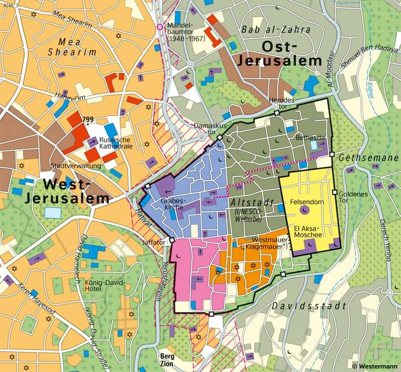 Jerusalem | Altstadt | Westasien und Israel - Siedlung | Karte 117/3