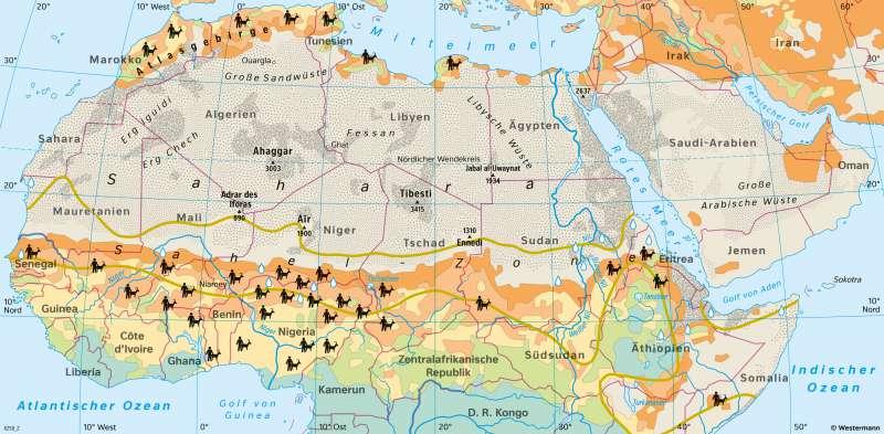 Sahara und Sahel | Wüstenarten und Wüstenausbreitung (Desertifikation) | Afrika - Landwirtschaft und Dürre | Karte 125/2
