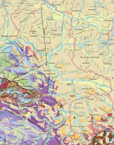 Sachsen-Anhalt | Geologie | Sachsen-Anhalt - Geologie und physische Übersicht | Karte 12/1