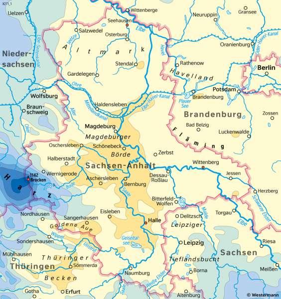 Sachsen-Anhalt   NiederschlägeimJahr   Sachsen-Anhalt - Landwirtschaft und Klima   Karte 21/3