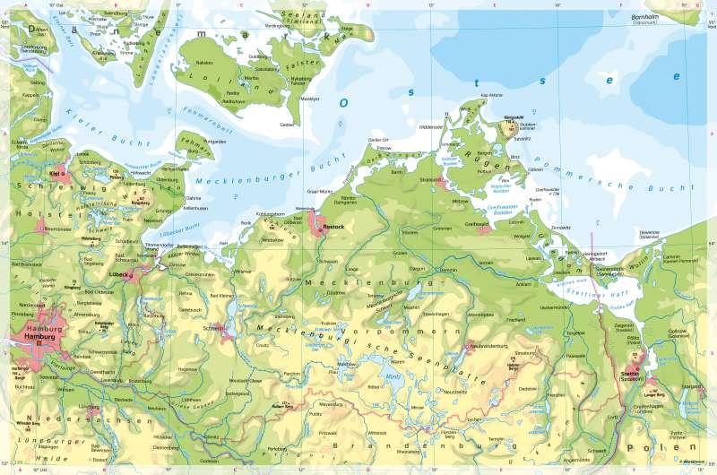 Mecklenburgische Seenplatte Kartenansicht.Diercke Weltatlas Kartenansicht Mecklenburg Vorpommern