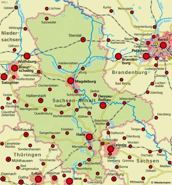 Sachsen-Anhalt | Raumplanung | Sachsen-Anhalt - Strukturwandel und Raumplanung | Karte 25/4