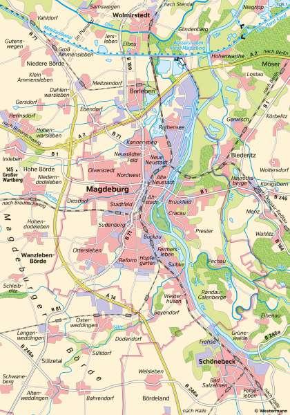 Magdeburg | Von der Innenstadt zum Verdichtungsraum | Magdeburg - Maßstab und Entfernungen | Karte 9/1