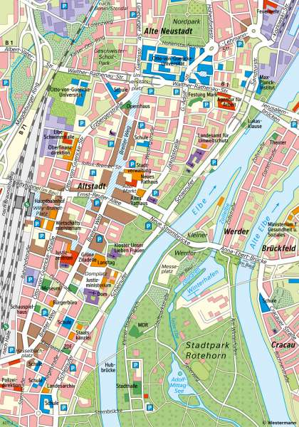 Magdeburg | Von der Innenstadt zum Verdichtungsraum | Magdeburg - Maßstab und Entfernungen | Karte 8/1