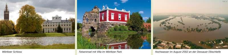 | Wörlitzer Schloss/Felseninsel mit Villa im Wörlitzer Park/Hochwasser im August 2002 an der Dessauer Elbschleife | Sachsen-Anhalt - Natur und Umwelt | Karte 17/3