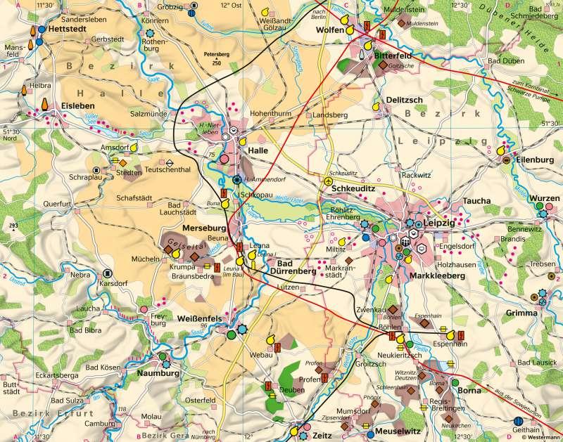 Halle/Leipzig | Wirtschaft und Strukturwandel | Sachsen-Anhalt - Strukturwandel und Raumplanung | Karte 24/1