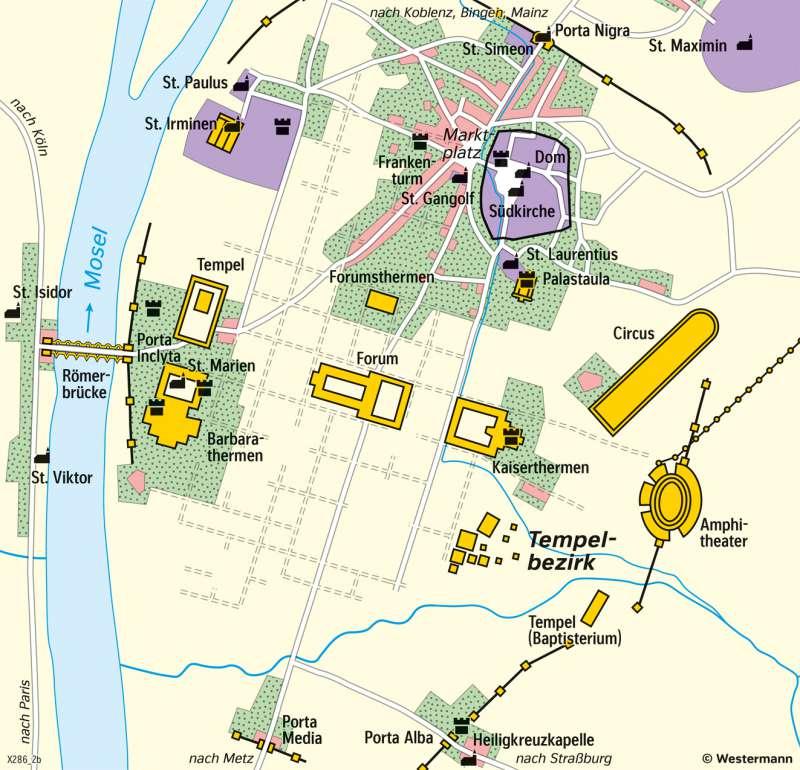 Trier | Mittelalterliche Stadt um 1200 | Trier - Territorial- und Stadtentwicklung | Karte 26/6