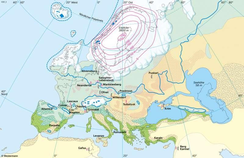 Europa | Würm-/Weichselkaltzeit (vor 18000 Jahren) | Europa - Formende Kräfte | Karte 73/4