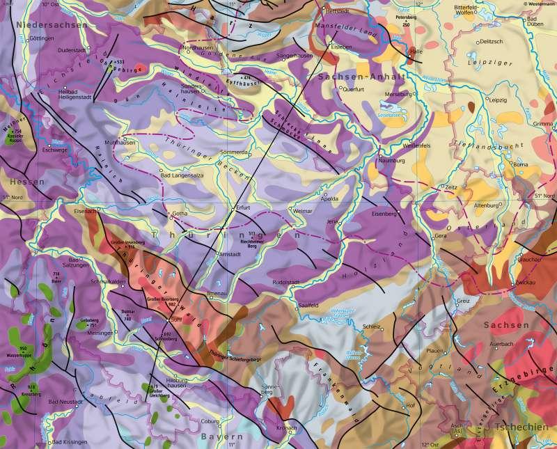 Geologische Karte Thüringen.Diercke Weltatlas Kartenansicht Thüringen Geologie 978 3 14