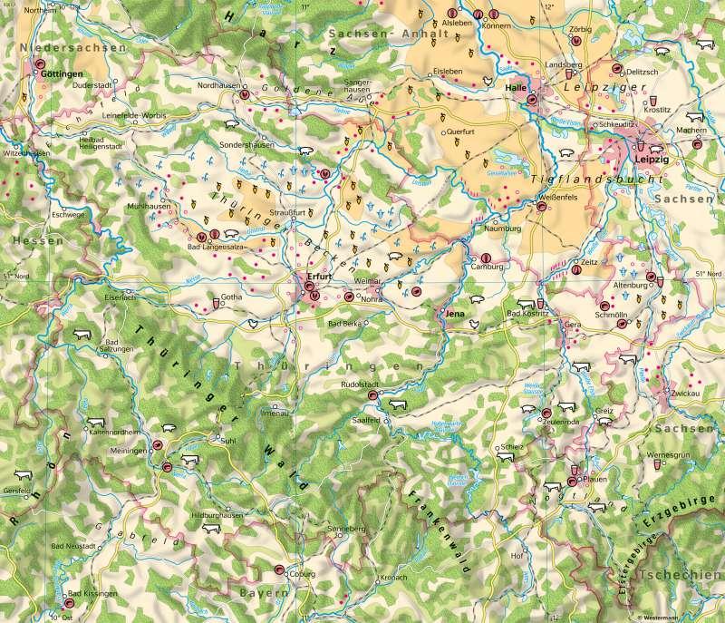 Thüringen | Landwirtschaft | Thüringen - Landwirtschaft und Klima | Karte 16/1