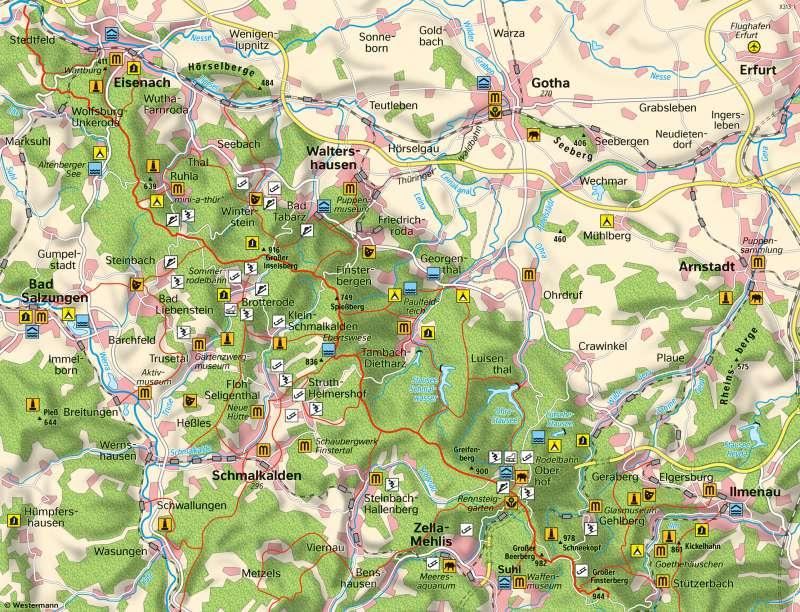 Thüringer Wald Karte.Diercke Weltatlas Kartenansicht Thüringer Wald Freizeit Und