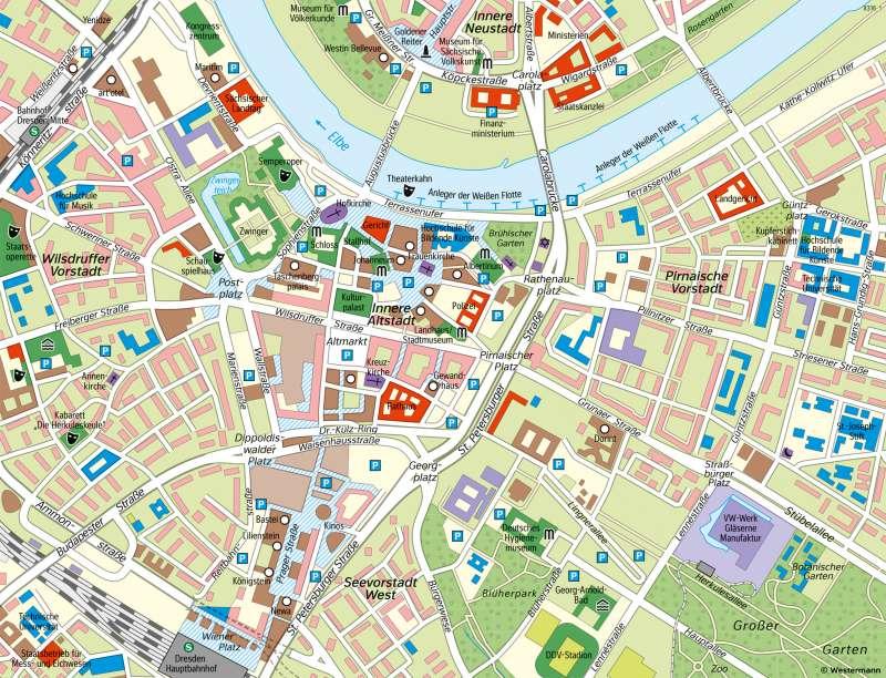 Dresden | Karte der Innenstadt (Stadtplan) | Dresden - Vom Bild zur Karte/Maßstab und Entfernungen | Karte 8/2