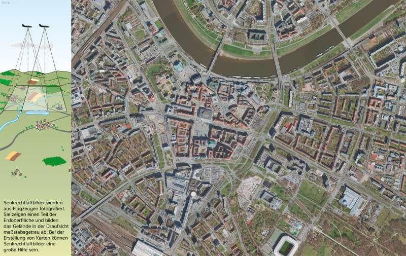 Dresden   Senkrechtluftbildder Innenstadt   Dresden - Vom Bild zur Karte/Maßstab und Entfernungen   Karte 8/1