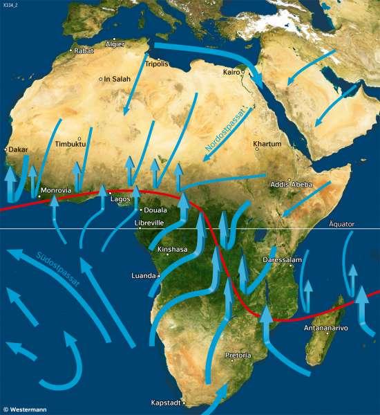 Afrika | Vegetation im Januar | Afrika - Klima | Karte 126/3