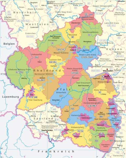 Rheinland-Pfalz | Verwaltung | Rheinland-Pfalz - Verwaltung und Bevölkerung | Karte 28/1