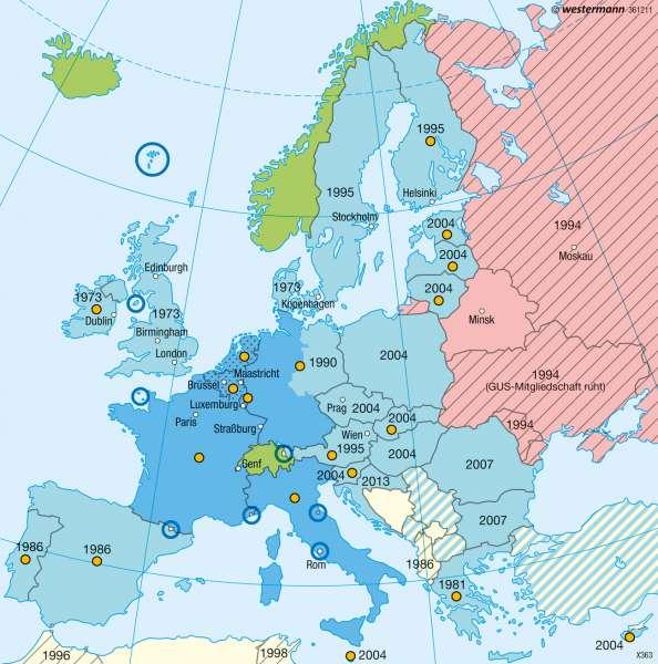 Europäische Zusammenschlüsse |  | Europa - Staaten | Karte 76/4