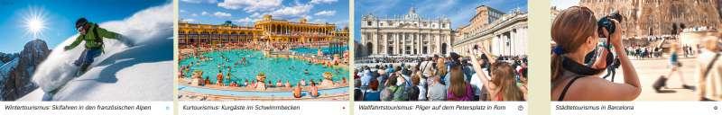 | Wintertourismus: Skifahren in den französischen Alpen/Kurtourismus: Kurgäste im Schwimmbecken/Wallfahrtstourismus: Pilger auf dem Petersplatz in Rom/Städtetourismus in Barcelona | Europa - Tourismus | Karte 84/1