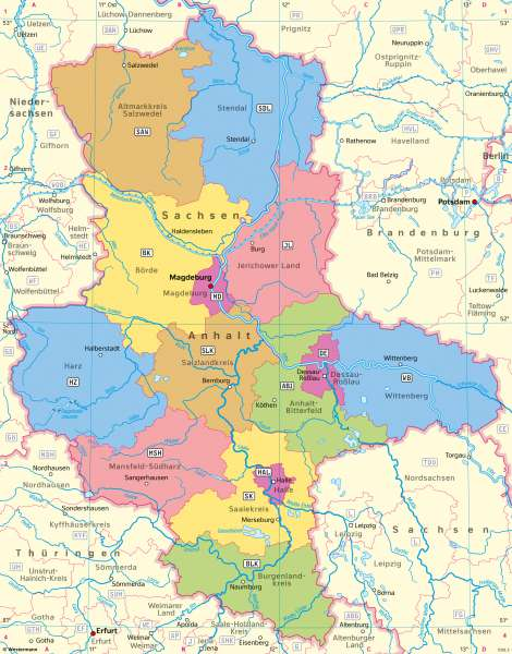 Sachsen-Anhalt | Politische Übersicht | Sachsen-Anhalt - Verwaltung und Bevölkerung | Karte 28/1