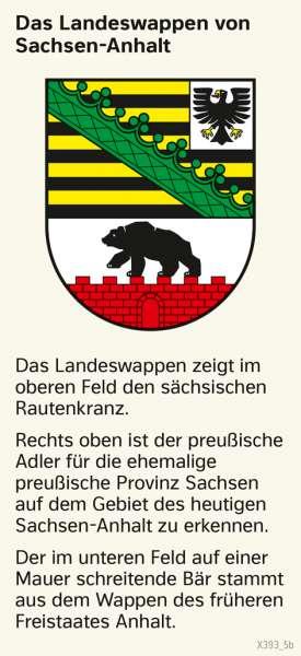   Das Landeswappen von Sachsen-Anhalt   Sachsen-Anhalt - Verwaltung und Bevölkerung   Karte 28/1