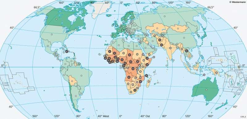 Erde | Lebenserwartung | Erde - Lebensbedingungen | Karte 181/3