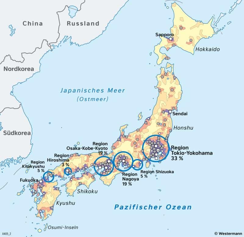 Japan | Bevölkerungsverteilung | Japan - Naturrisiken und Wirtschaft | Karte 113/3