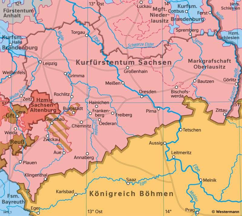   Das Kurfürstentum Sachsen 1789   Sachsen - Geschichte   Karte 26/2