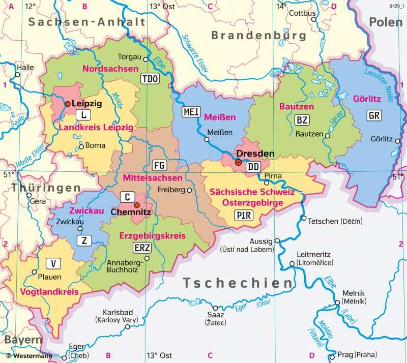 Diercke Weltatlas Kartenansicht Sachsen Kreisfreie Stadte