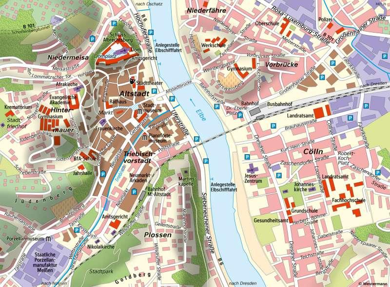 Meißen | Stadtentwicklung | Sachsen - Geschichte | Karte 27/5
