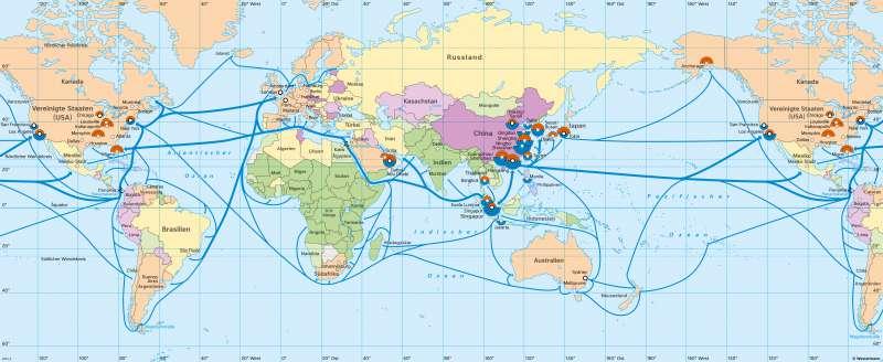 Erde | Globalisierte Wirtschaft und Weltverkehr | Erde - Globalisierte Wirtschaft | Karte 186/1