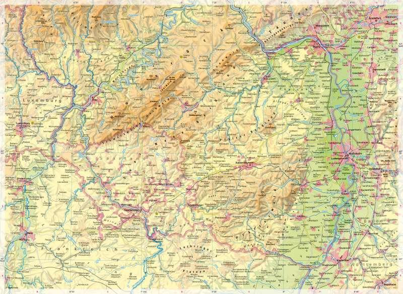 Südliches Rheinland-Pfalz   Physische Karte   Südliches Rheinland-Pfalz - Physische Karte   Karte 10/1