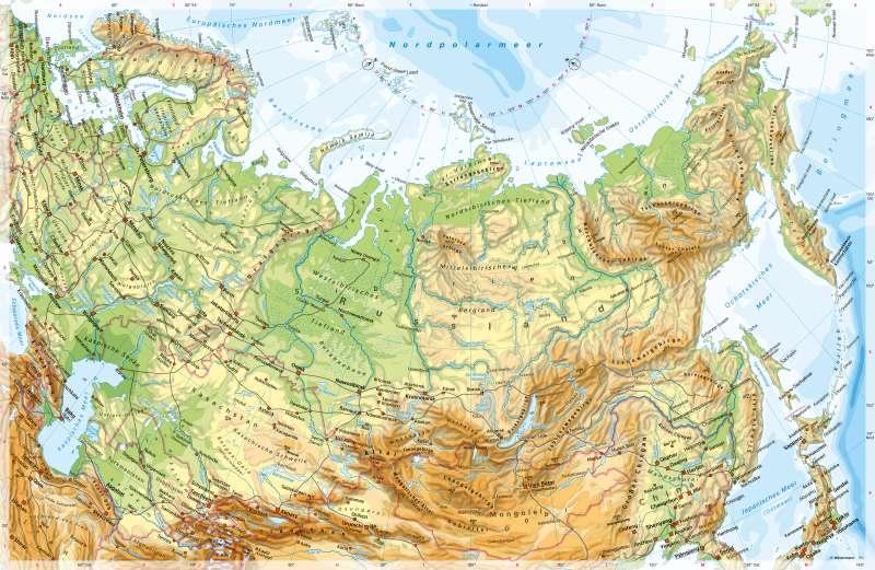 Russland und Zentralasien | PhysischeKarte | Russland und Zentralasien - PhysischeKarte | Karte 92/1