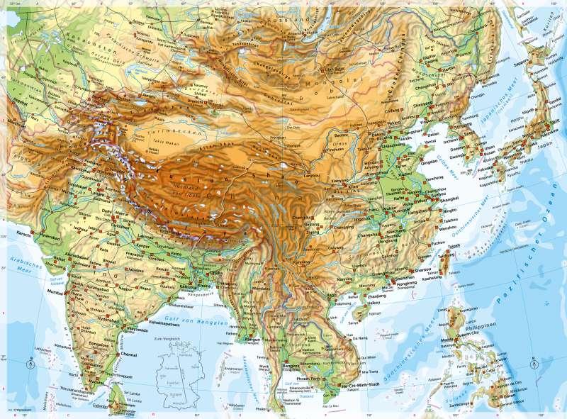 Südasien und Ostasien | PhysischeKarte | Südasien und Ostasien - PhysischeKarte | Karte 108/1