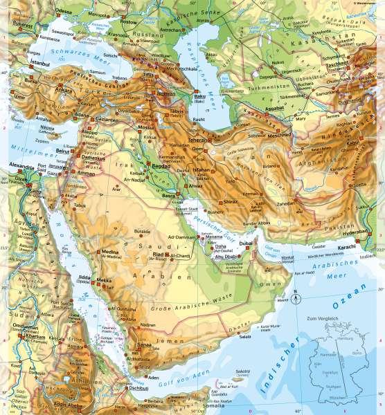 Westasien | PhysischeKarte | Westasien und Israel - Siedlung | Karte 116/1