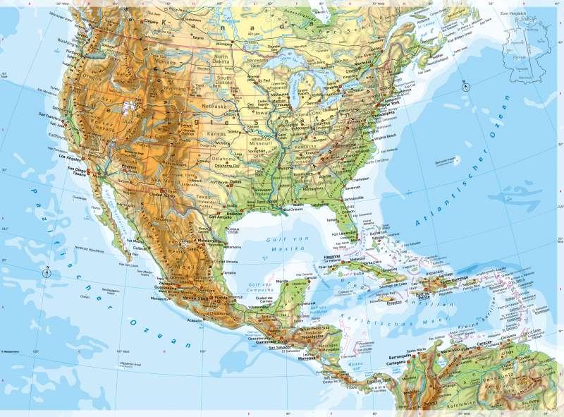 VereinigteStaaten vonAmerika(USA) und Mittelamerika | PhysischeKarte | Vereinigte Staaten von Amerika (USA) und Mittelamerika - Physische Karte | Karte 144/1