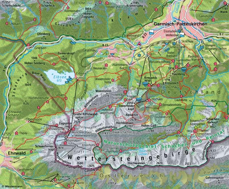 Wettersteingebirge | Tourismus | Alpen - Tourismus und Umwelt | Karte 55/4