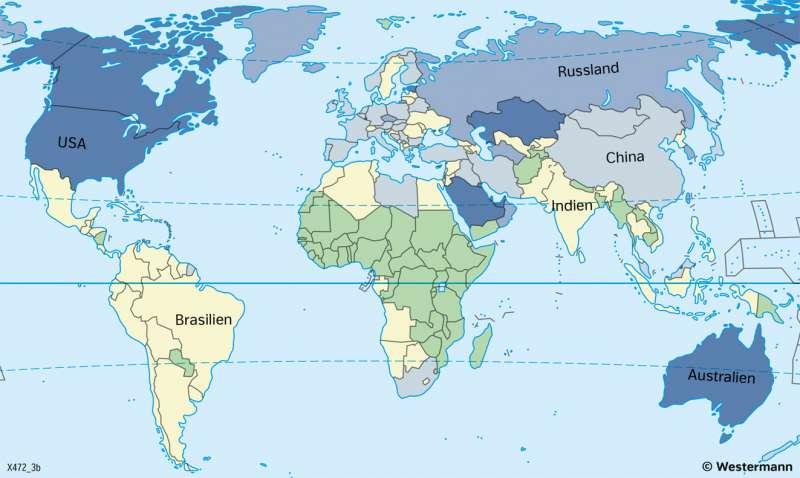 Erde | Treibhausgas Kohlenstoffdioxid (CO2) | Erde - Naturrisiken und Klimawandel | Karte 170/2