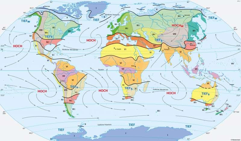 | Klimate der Erde (Klimazonen nach ihrer Entstehung) | Erde - Klimazonen und ihre Entstehung | Karte 172/1