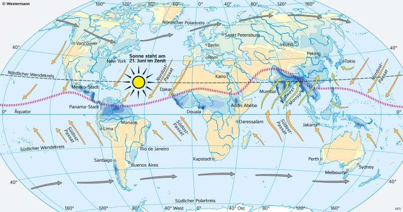 Erde | Niederschläge im Juli (Nordsommer/Südwinter) | Erde - Klimazonen und ihre Entstehung | Karte 173/4